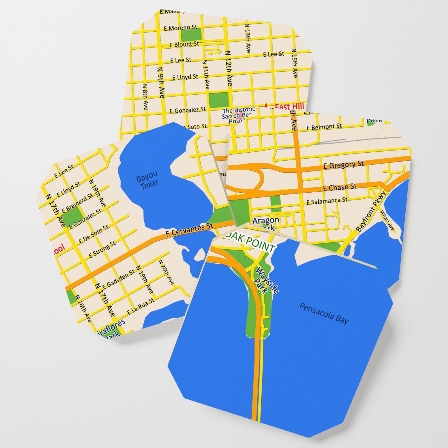 Map of Pensacola, FL - East Hill Christian Coaster by efratul Map Of Pensacola Com on