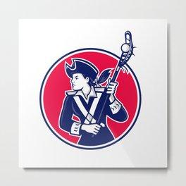 Female Lacrosse Player Patriot Mascot Metal Print