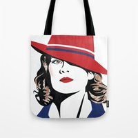 agent carter Tote Bags featuring Peggy Carter by Arne AKA Ratscape