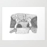 Smoking Canada Geese Art Print