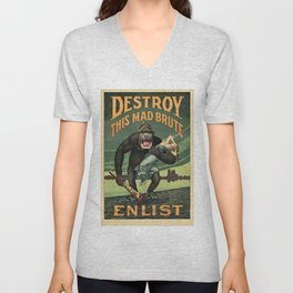 1917 WWI U.S. Army - Destroy this mad brute Enlist - Recruitment Poster by Harry R. Hopps, Unisex V-Neck