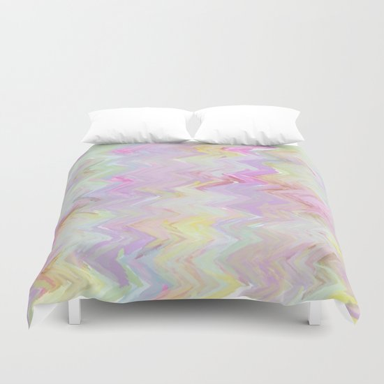 Pastel Waves Abstract - Painterly Duvet Cover