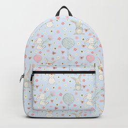 Easter Bunnies and Air Balloons on blue Backpack