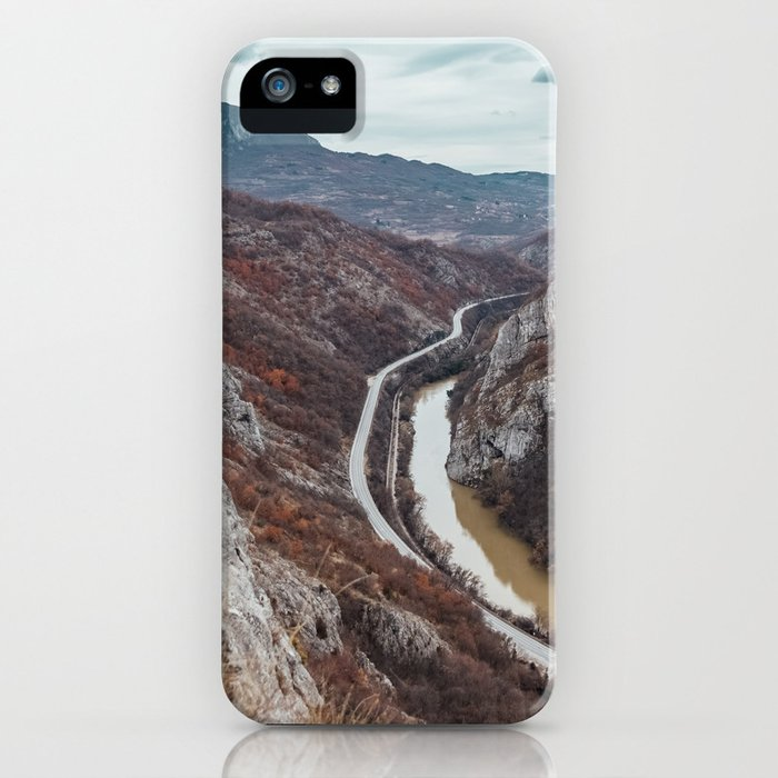 Beautiful photo of the canyon in Serbia, with river and the highway in the middle iPhone Case