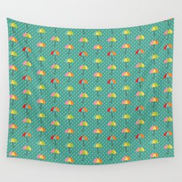 April Showers - Spring Rain Umbrella Pattern in Teal Wall Tapestry