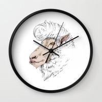 rockabilly Wall Clocks featuring Rockabilly Sheep by TurkeysDesign