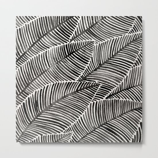 Tropical Palm Leaves – Black Palette Metal Print