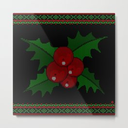 Knitted Mistletoe Metal Print