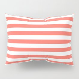 LIVING CORAL HORIZONTAL STRIPES PANTONE COLOR OF THE YEAR 2019 Pillow Sham