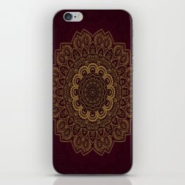 Gold Mandala on Royal Red Background iPhone Skin