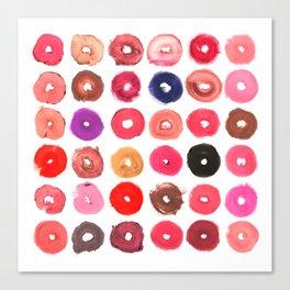 Lipstick Donuts Canvas Print