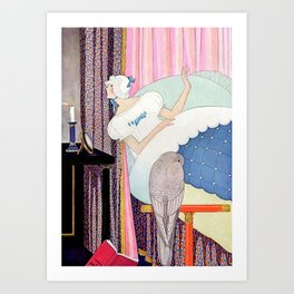 "George Wolfe Plank Art Deco Design ""Bedtime Candle"" Art Print"