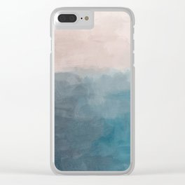Turquoise Aqua Teal Blue Coral Rose Pink Abstract Painting, Modern Wall Art, Ocean Sunset Sand Beach Clear iPhone Case