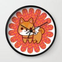 shiba Wall Clocks featuring Shiba wings by Azul Piñeiro