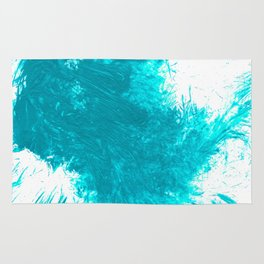 Abstract Aqua Brushstroke Splash Twist Rug