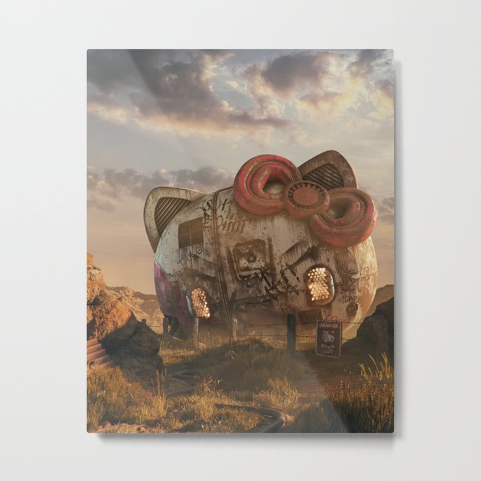Bye Kitty Metal Print