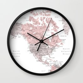 Dusty pink and grey detailed watercolor world map Wall Clock