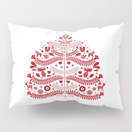 Red Scandinavian Folk Art Christmas Tree Pillow Sham