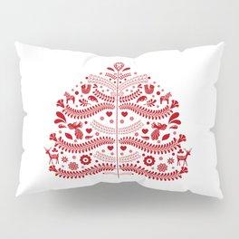 Red Scandinavian Folk Art Christmas Tree Pillow Sham