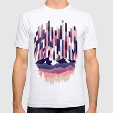Sunrise in Vertical - Winter Purple LARGE Ash Grey Mens Fitted Tee