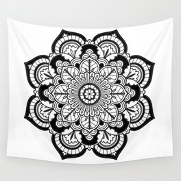 Black and White Flower Wall Tapestry