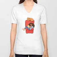 hermione V-neck T-shirts featuring Reading fictional characters: Hermione by Susanne