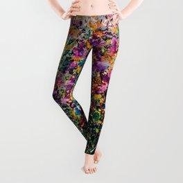 Hollyhock Fantasy Pollock Style Painting  Leggings