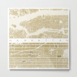 Manhattan NYC map gold Metal Print