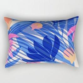 Breezy Tropics / Bright Abstract Floral Print Rectangular Pillow