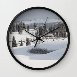Yellowstone National Park - Blacktail Deer Plateau Panorama Wall Clock
