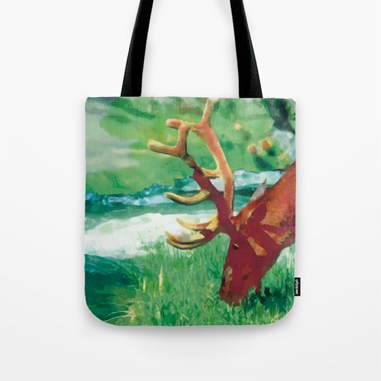 Deer on the edge of the forest Tote Bag