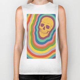 Trippy Rainbow Skull Biker Tank