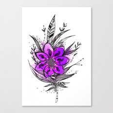 Purple Flower Feather Canvas Print