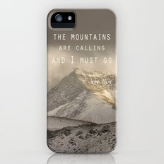 The Mountains are calling, and I must go.  John Muir. Vintage. iPhone (5, 5s) Slim Case