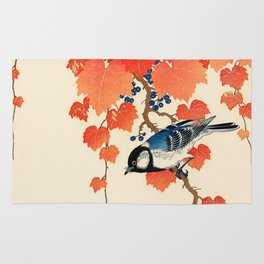 Vintage Japanese Bird and Autumn Grapevine Rug