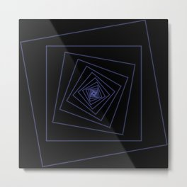 Ride the Spiral - Blue Neon Squares Metal Print