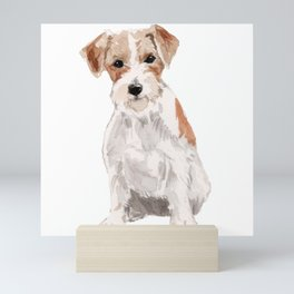 Wired-Haired Jack Russel Terrier watercolors illustration Mini Art Print
