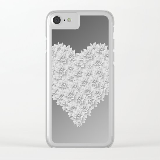 White heart Clear iPhone Case