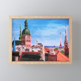 Vertical: Chimneys and Churches of Riga Framed Mini Art Print