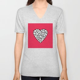 Heart with polka dots . The red background . Unisex V-Neck
