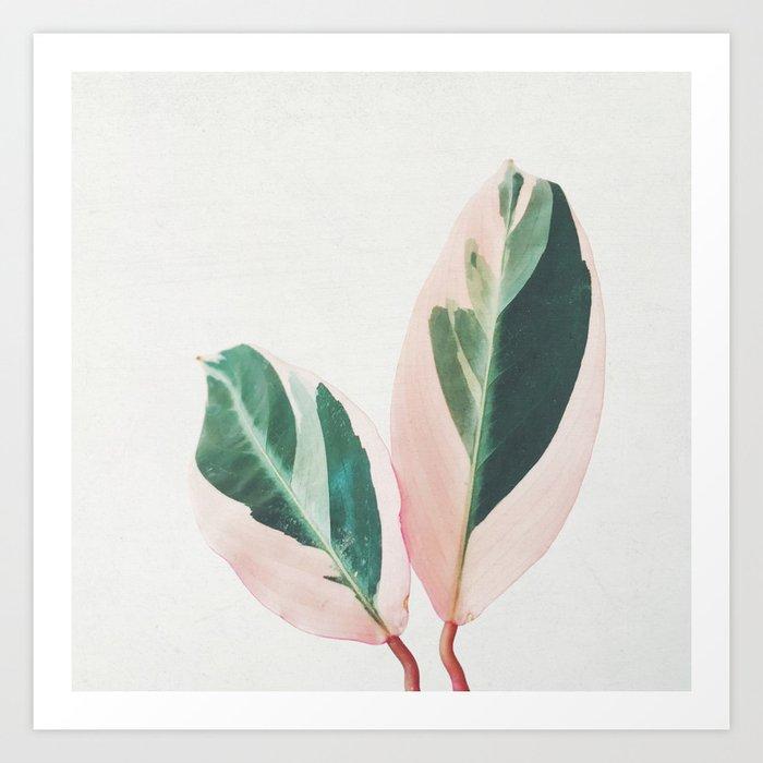 Pink Leaves I Art Print