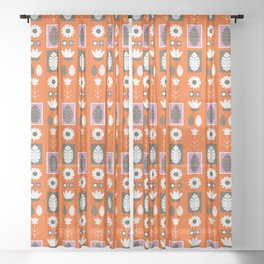 Swedish folk wall pattern Sheer Curtain