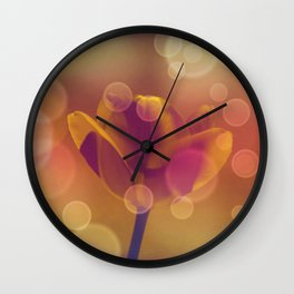 Golden Bubbles N Tulip Wall Clock
