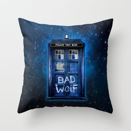 Phone box doctor with Bad wolf graffiti Throw Pillow