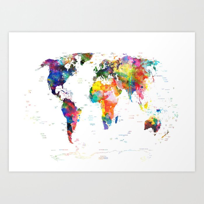 World map political watercolor 2 art print by bekimart society6 world map political watercolor 2 art print gumiabroncs Gallery