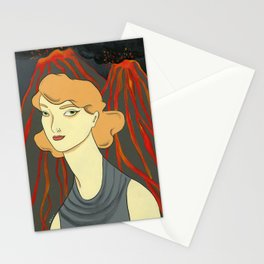 Lady with Volcano Stationery Cards