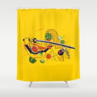 kill bill Shower Curtains featuring Kill Fruit by Calvin Wu