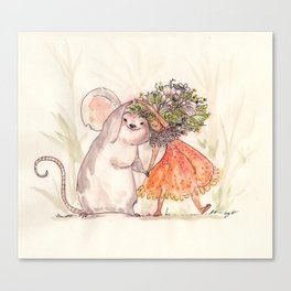 Thumbelina and the Mouse! Canvas Print