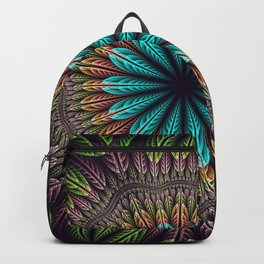 Tropical fantasy flower and leaves, fractal abstract Backpack