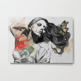 Beautiful Ruin II | sexy girl in lingerie with butterflies Metal Print